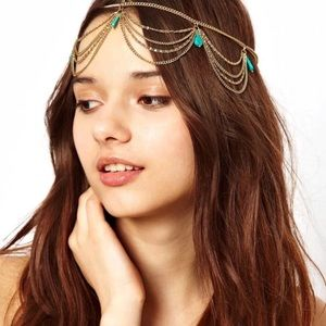 🆕 Boho Chic Tear Drop Chain Headpiece